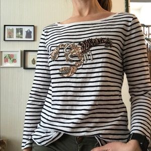 Talbots Striped Shirt with Lobster Beaded Motif ❤️